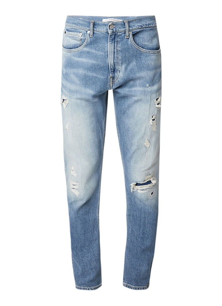 Calvin Klein Athletic high rise tapered fit jeans met destroyed look
