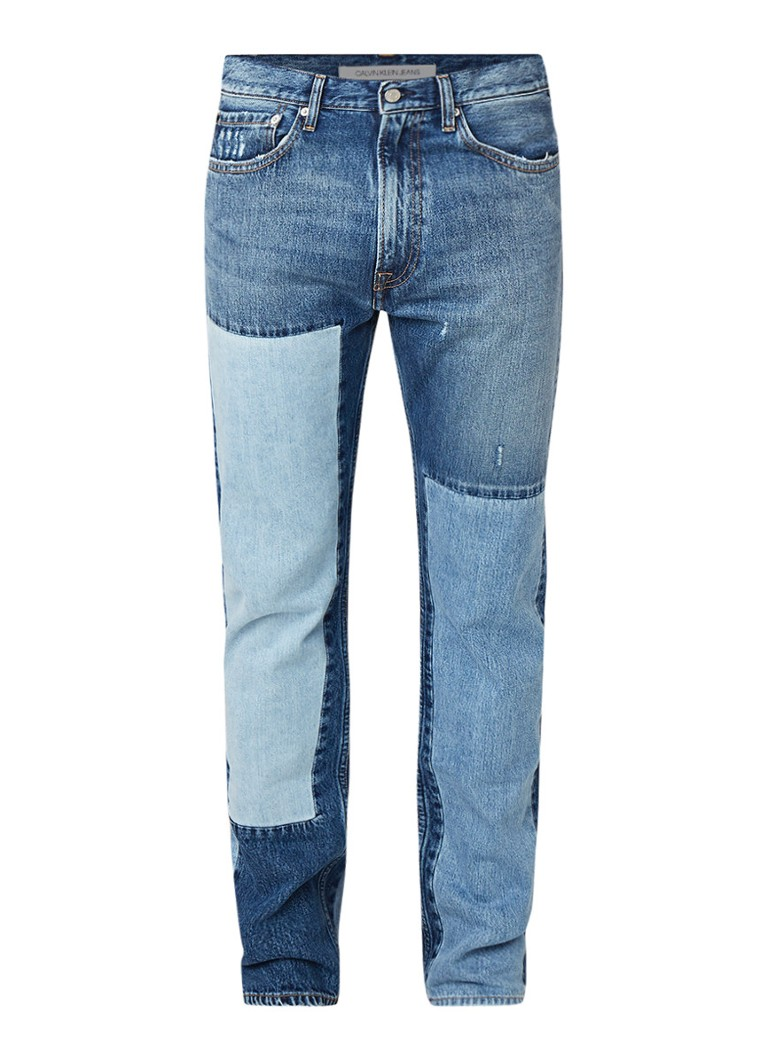 Calvin Klein CKJ 035 straight fit jeans met patches