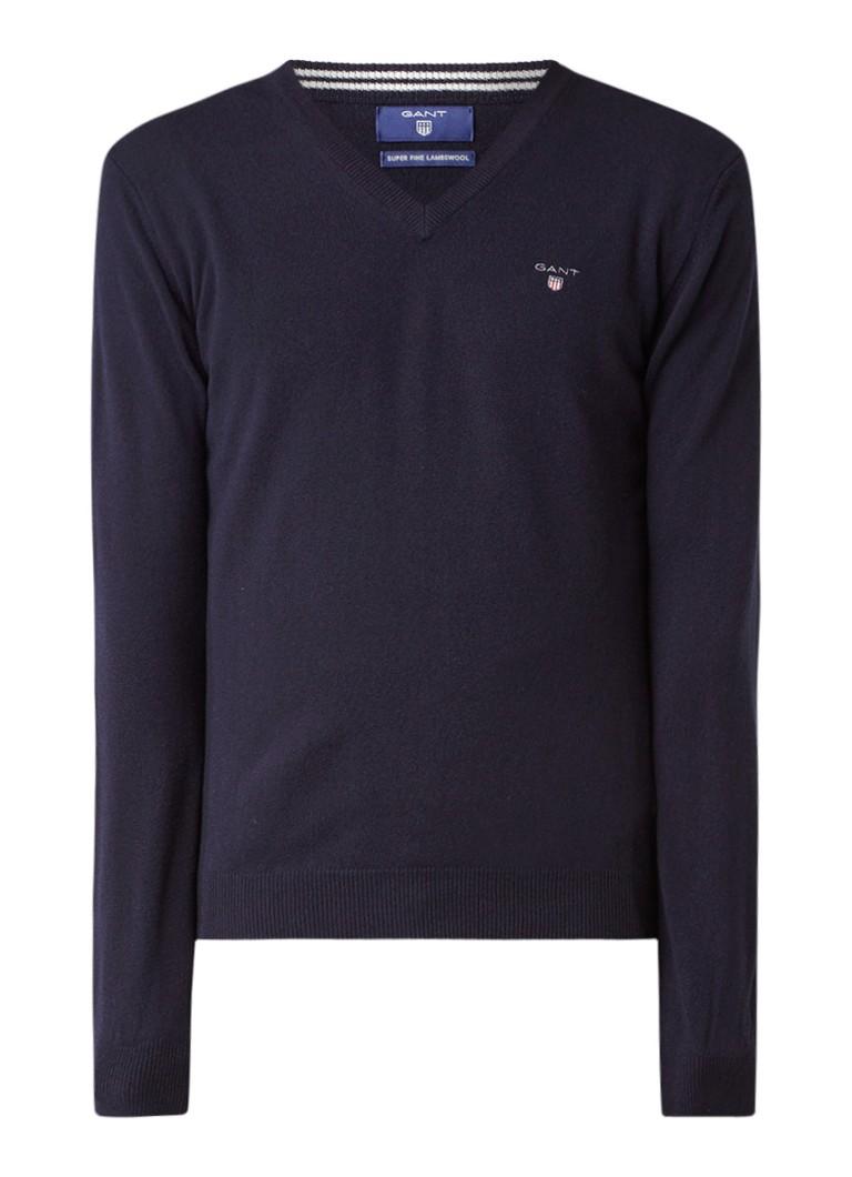 Gant Pullover van lamswol met V-hals