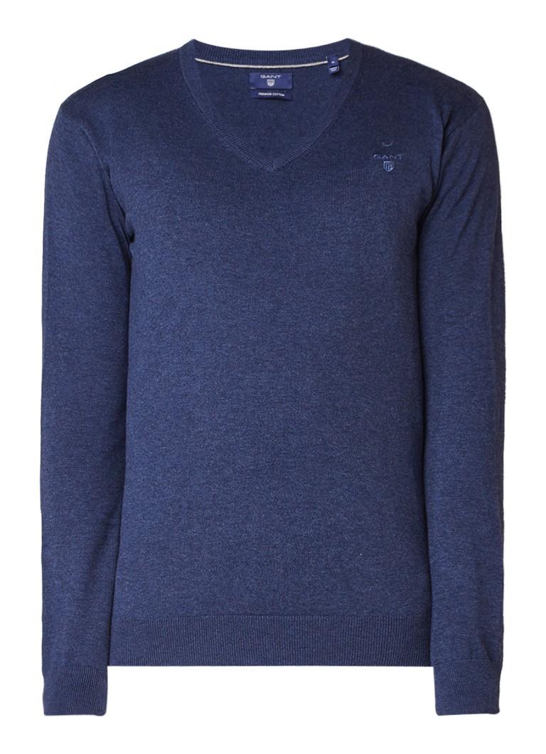 Gant Fijngebreide pullover van katoen met V-hals
