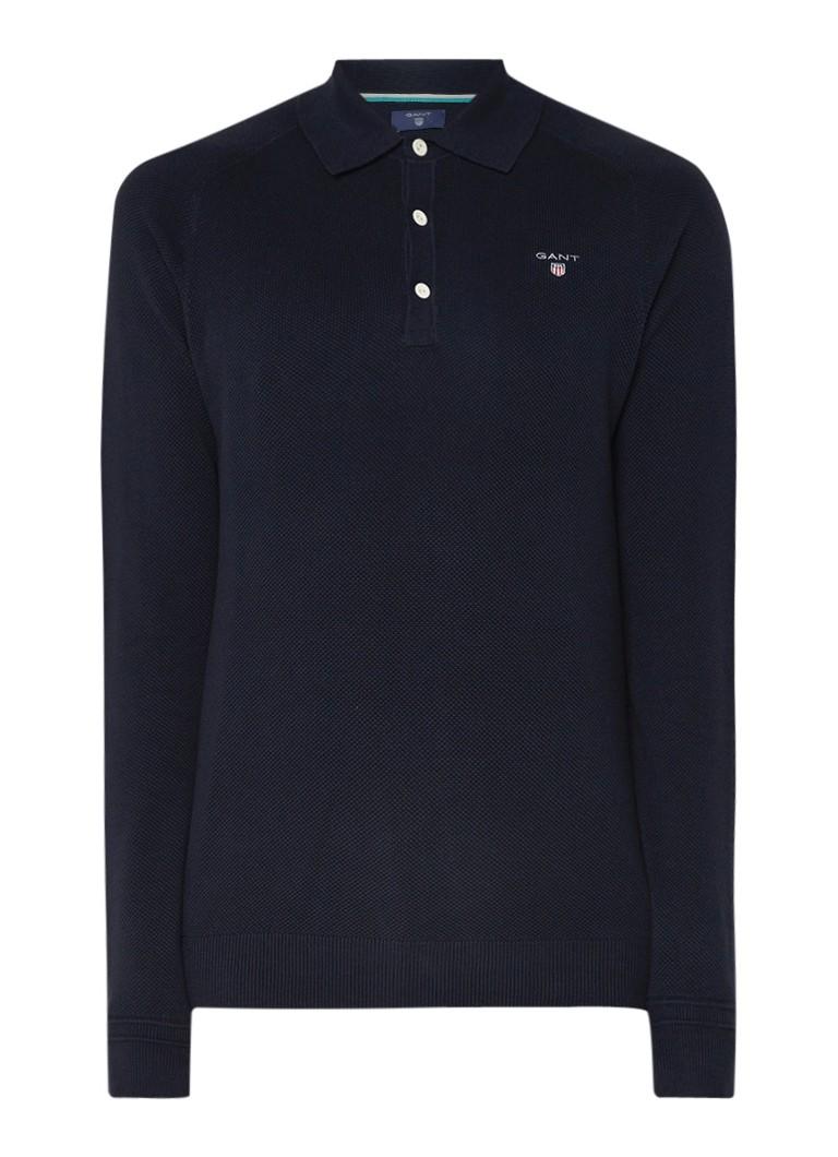 Gant Fijngebreide pullover van katoen met polokraag