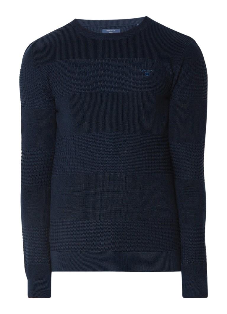 Gant Pullover van katoen met ingebreide structuur