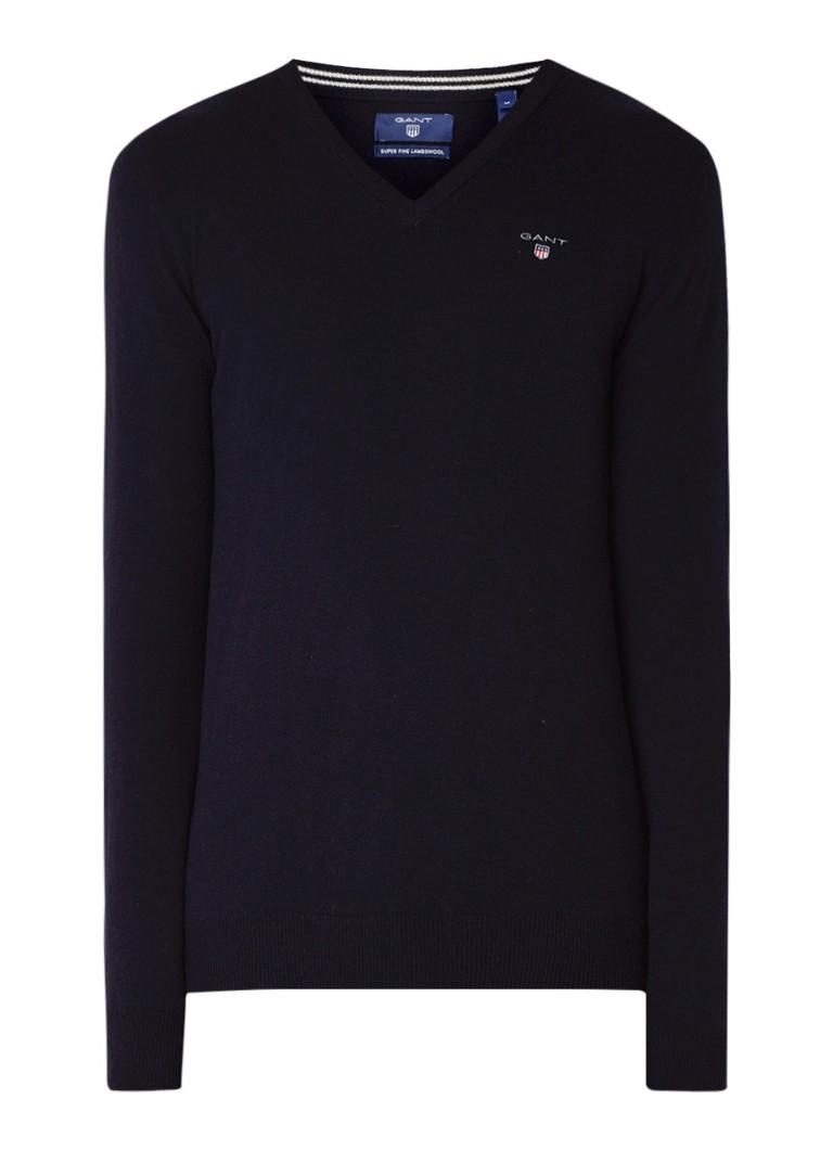 Gant Fijngebreide pullover van lamswol met V-hals