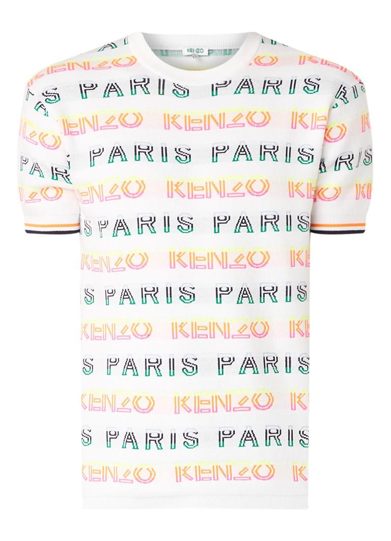 KENZO Fijngebreid T-shirt met ingebreid logodessin