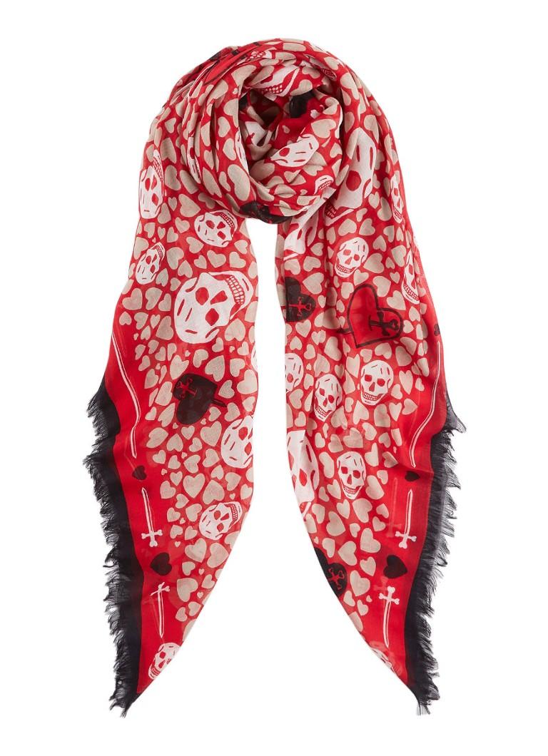 Alexander McQueen Hearts Skull sjaal in zijdeblend 104 x 120 cm