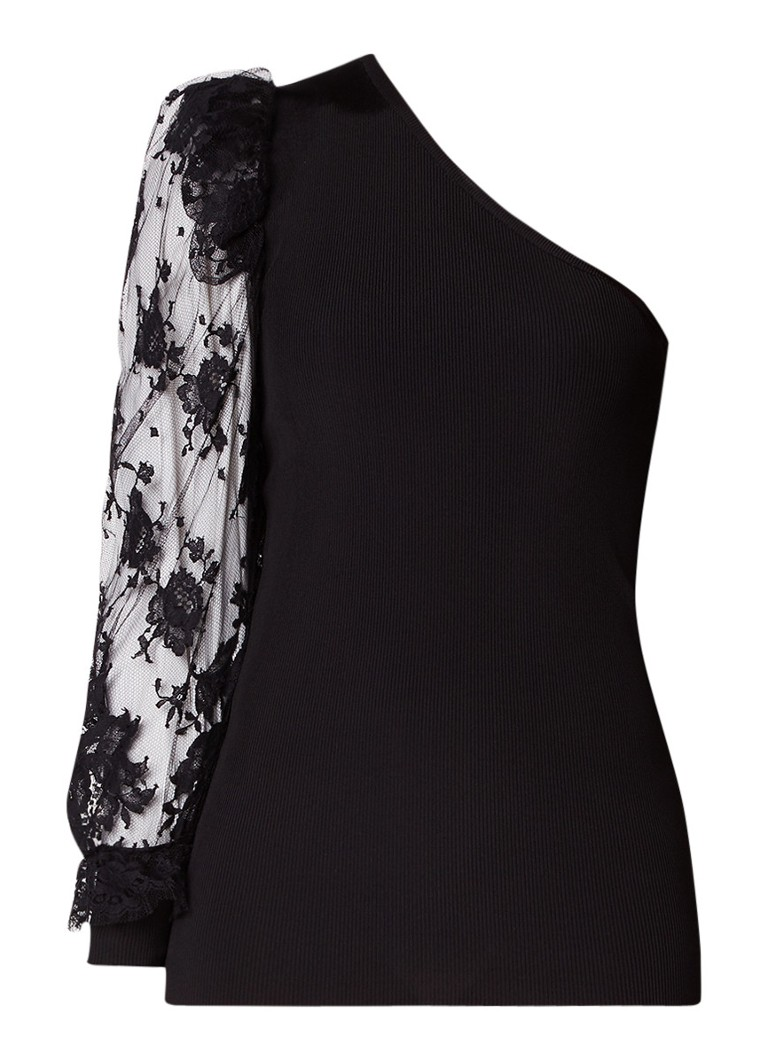 Givenchy One shoulder top met kanten details