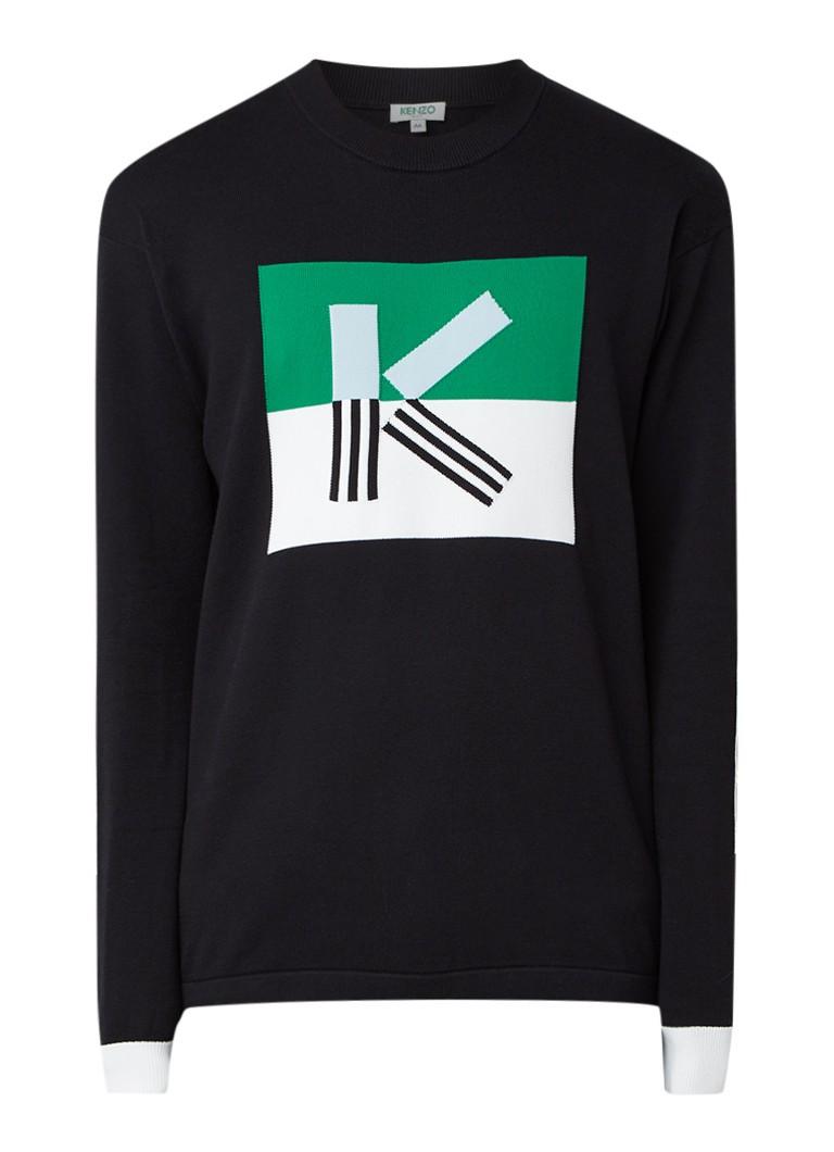 KENZO Fijngebreide pullover met ingebreide print