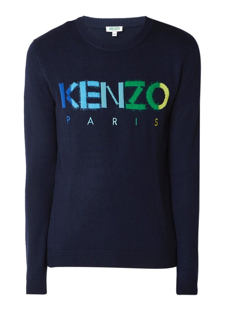KENZO Fijngebreide pullover met logoborduring