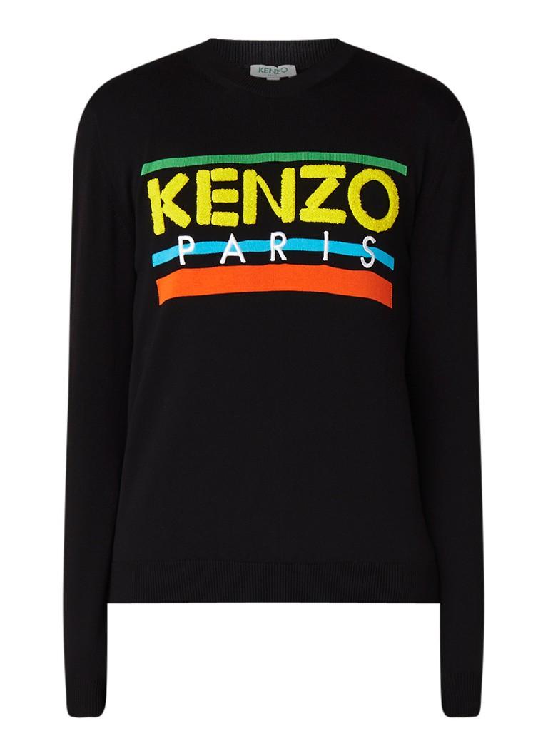 KENZO Fijngebreide pullover met logo van badstof