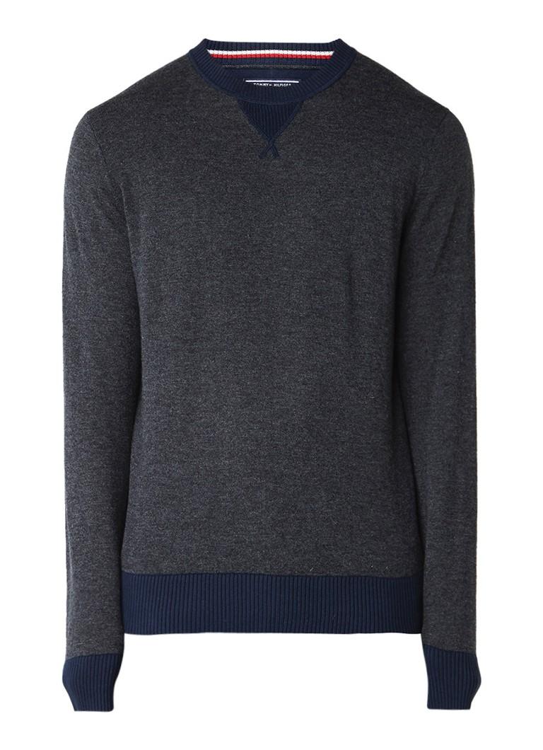 Tommy Hilfiger Pullover van wol met ribgebreide boorden