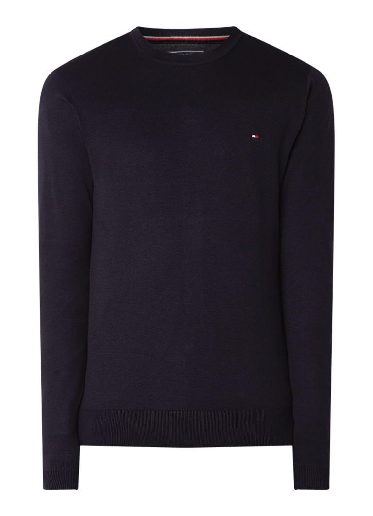 Image of Tommy Hilfiger Fijngebreide pullover in katoen zijdeblend