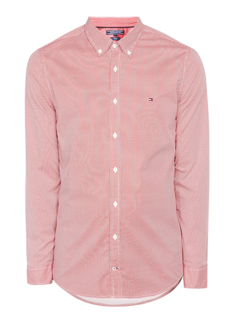 Tommy Hilfiger Slim fit button down-overhemd met micro dessin