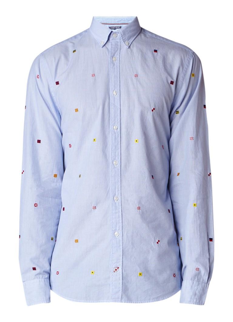 Tommy Hilfiger All Over Flag regular fit overhemd met geborduurde details