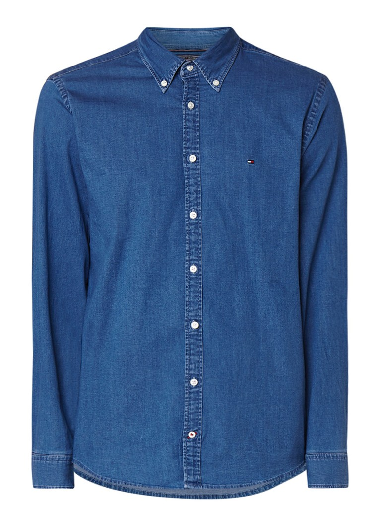 Tommy Hilfiger Regular fit denim button down-overhemd met stretch