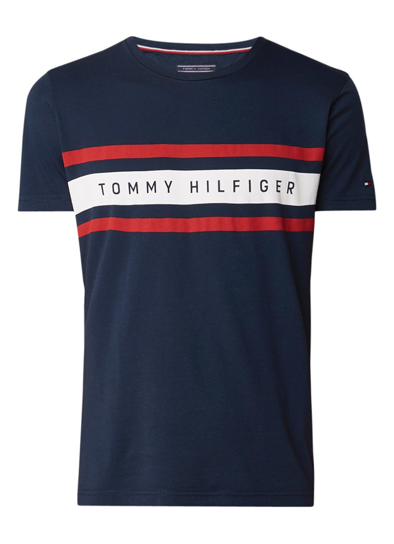 Tommy Hilfiger T-shirt met streepdetail en logo opdruk
