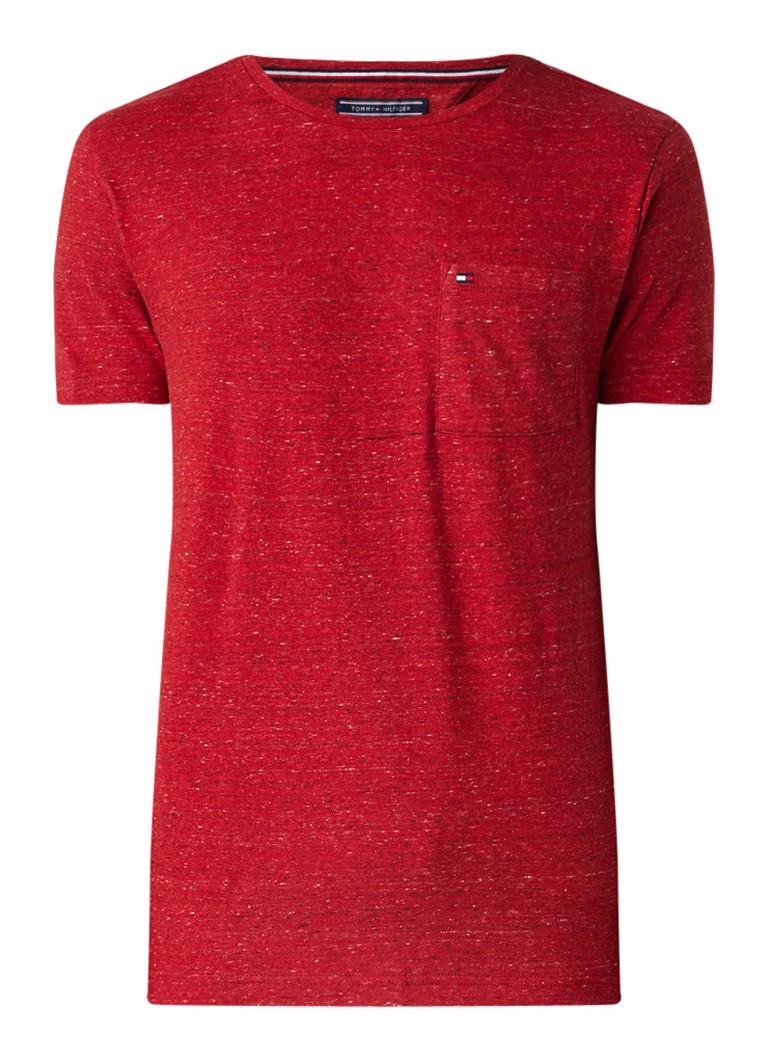 Tommy Hilfiger Classic Heather Pocket gemêleerd T-shirt van katoen