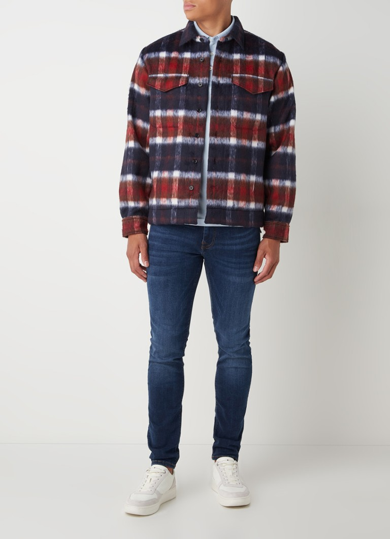 Tommy Hilfiger Overshirt in wolblend met ruitdessin