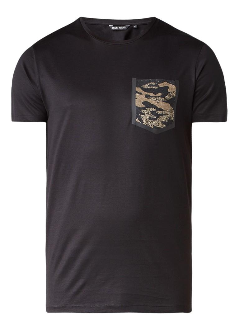 Polo s en T shirts Antony Morato T shirt met borstzak en camouflagedessin Zwart