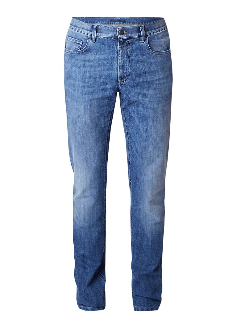 Z Zegna Mid rise slim fit jeans met faded look