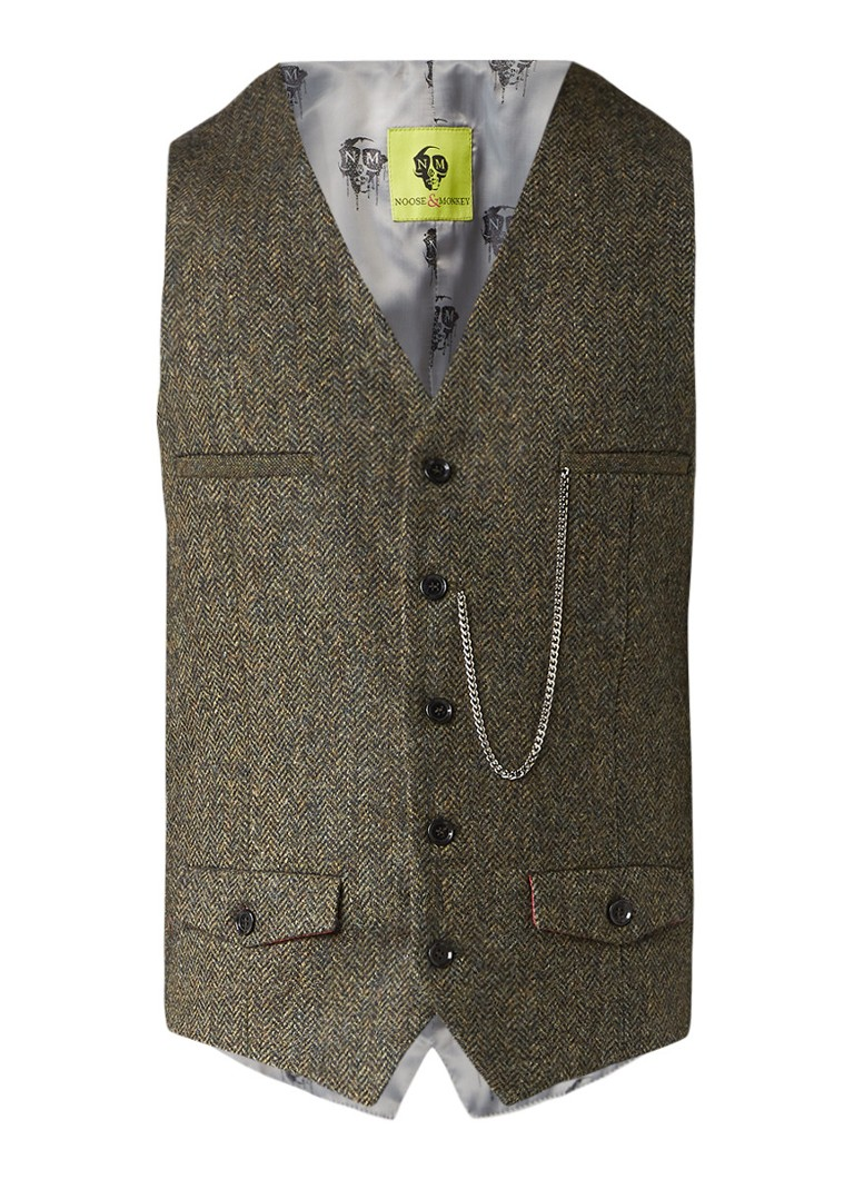 Pakken en colberts NooseenMonkey Gilet van Yorkshire tweed Donkergroen