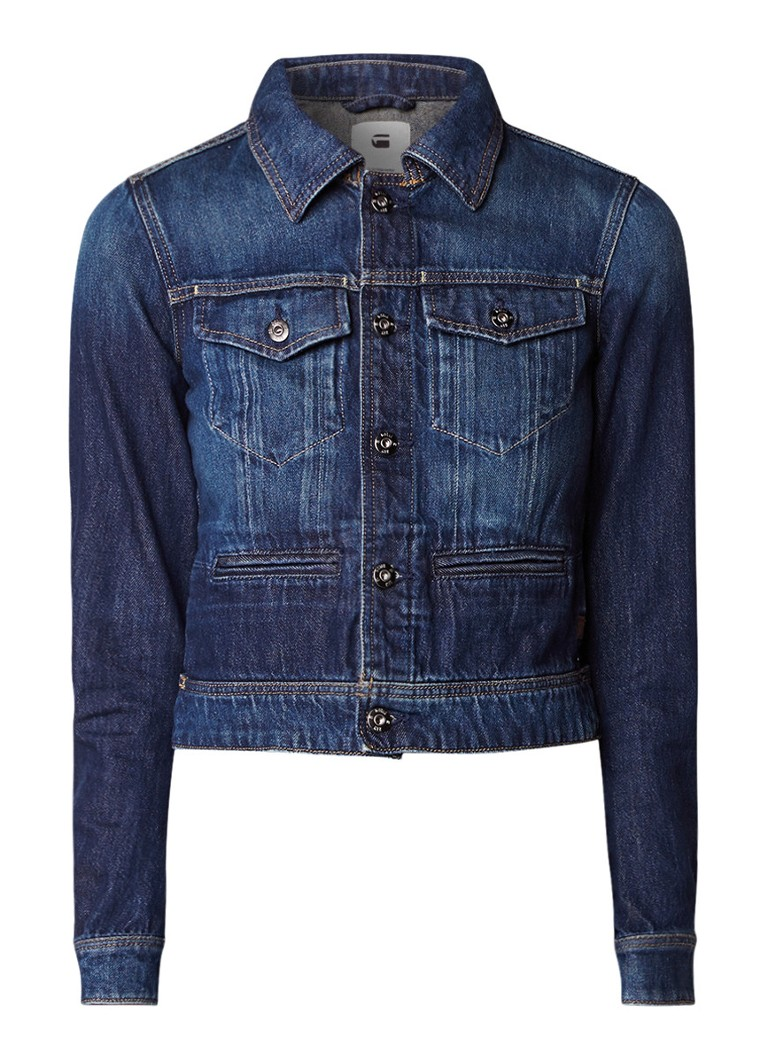 G-Star RAW D-Staq cropped denim jack met donkere wassing