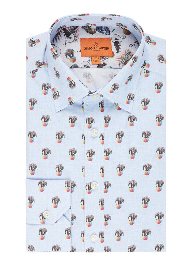 Simon Carter Slim fit overhemd met olifantenprint