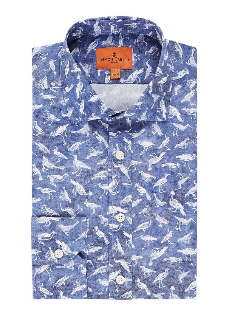 Simon Carter Slim fit overhemd met vogelprint