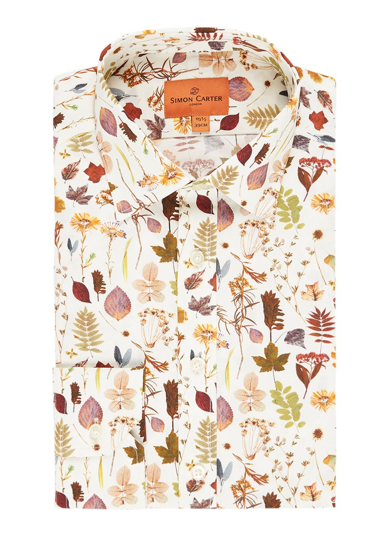 Simon Carter Slim fit overhemd met herfstprint