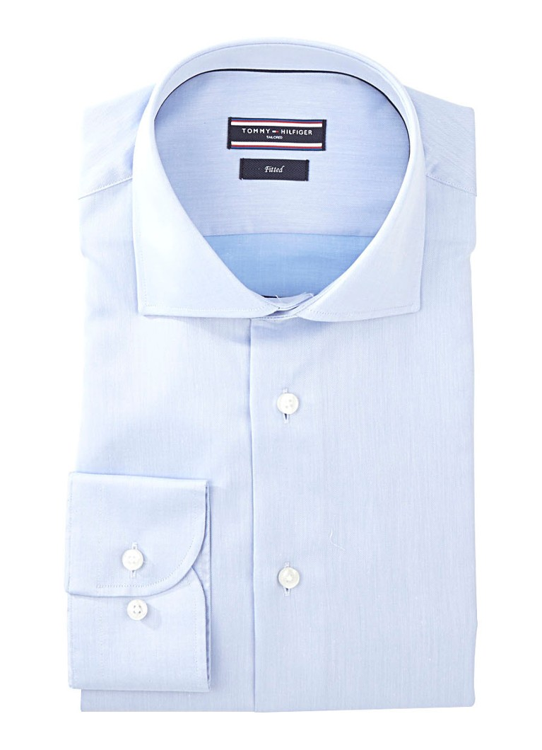 Tommy Hilfiger Tailored Fitted overhemd in uni lichtblauw
