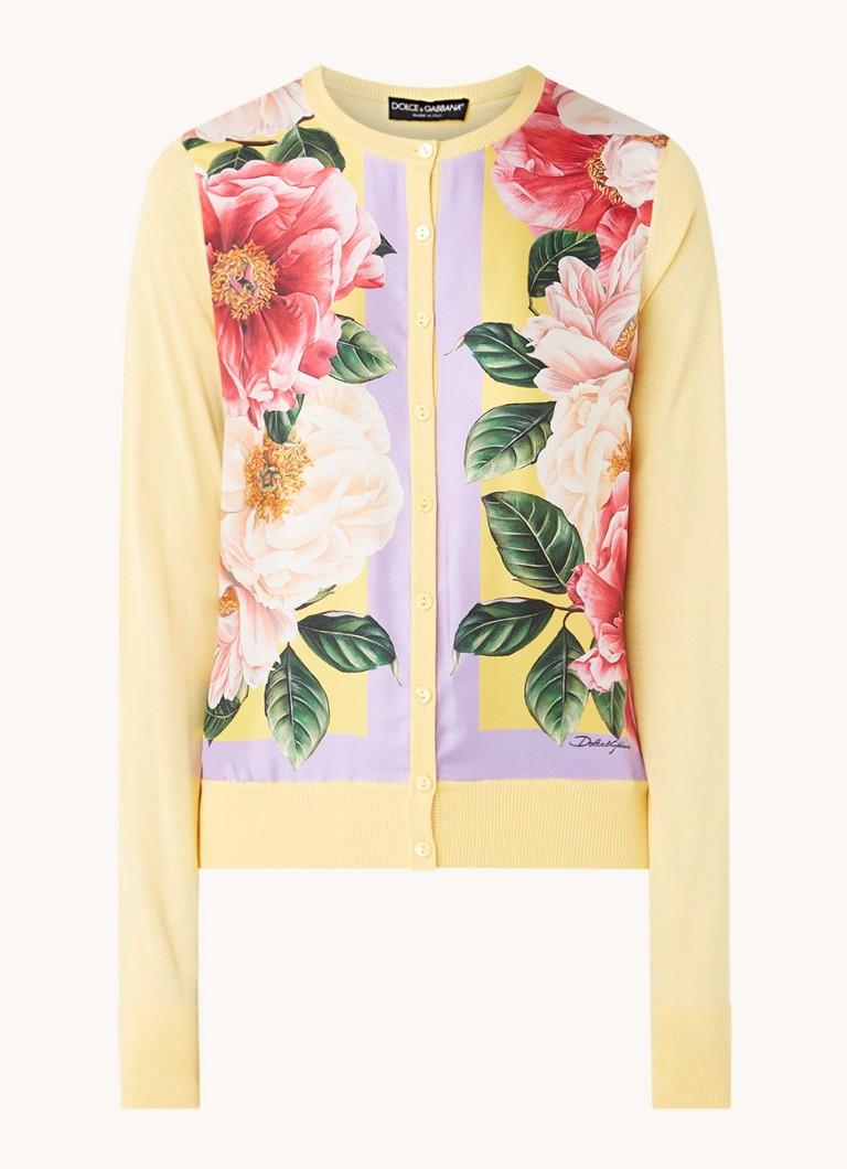 Fijngebreid vest van zijde met bloemenprint