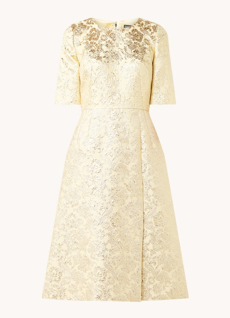 A lijn midi jurk met jacquard dessin en lurex