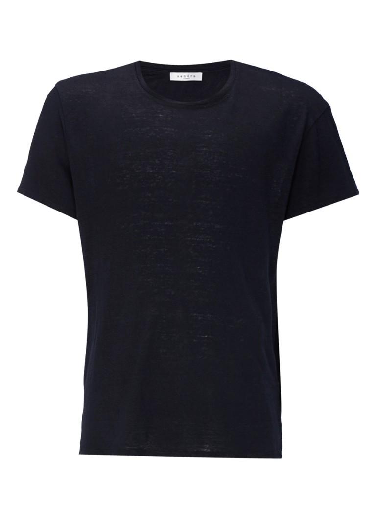 Sandro T-shirt van linnen met ronde hals