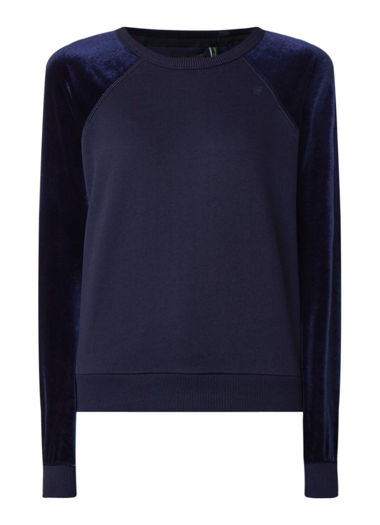G-Star RAW Kikko cropped sweater met mouwen van velours