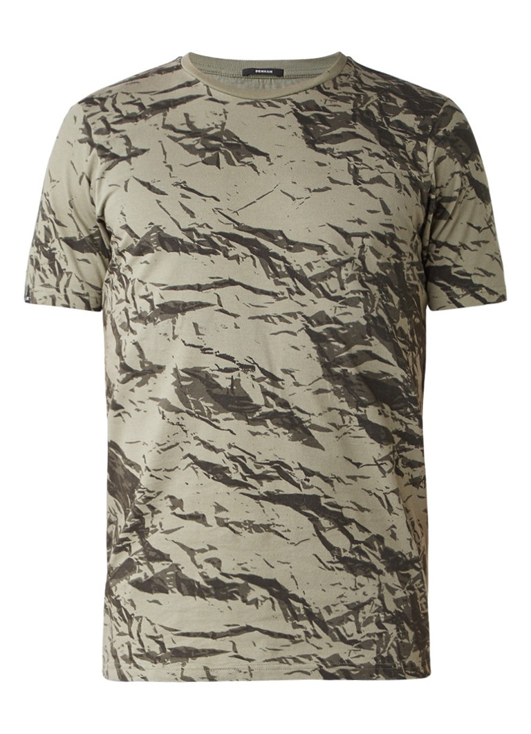 Denham Crew neck T-shirt met camouflageprint
