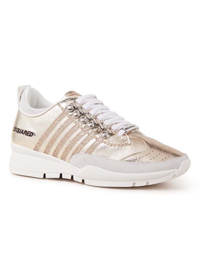 Image of Dsquared2 251 sneaker van kalfsleer met metallic finish