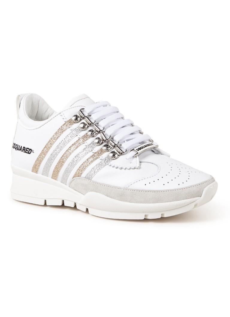 Image of Dsquared2 251 sneaker van kalfsleer met glitter