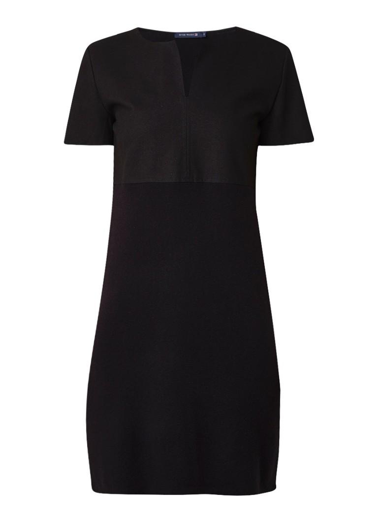 River Woods Midi-jurk in wolblend met top van imitatiesuède zwart