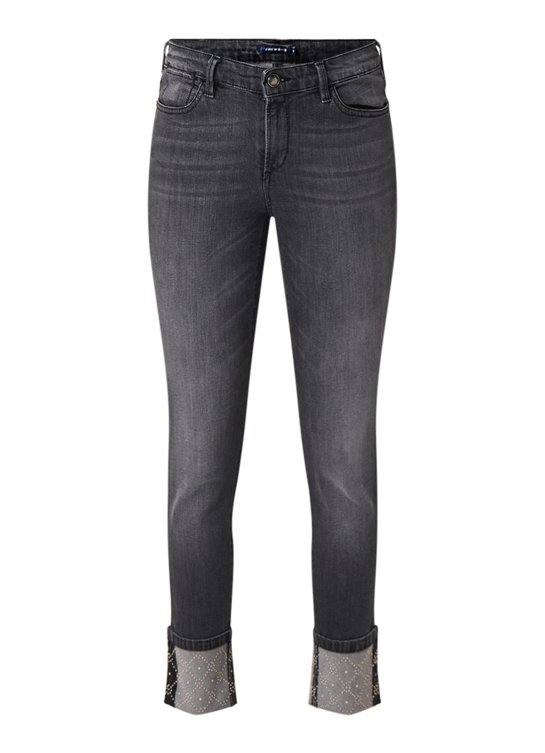 River Woods 7 8 high rise straight fit jeans met studs