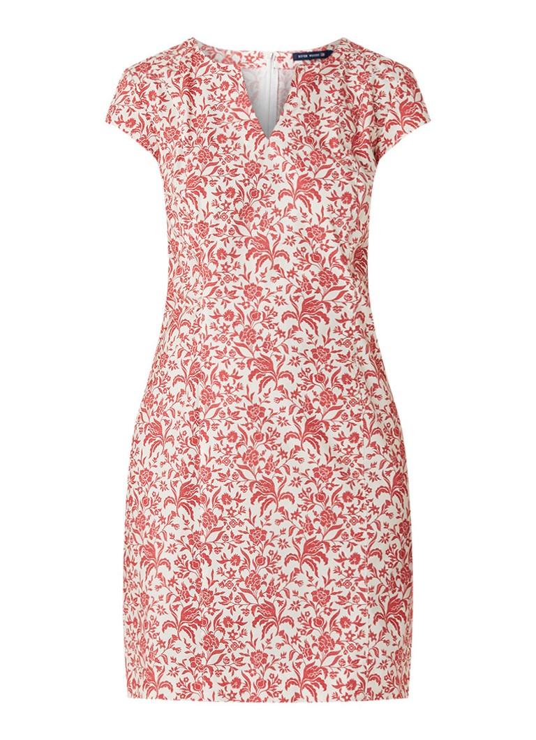 River Woods Midi-jurk met bloemendessin en V-hals rood