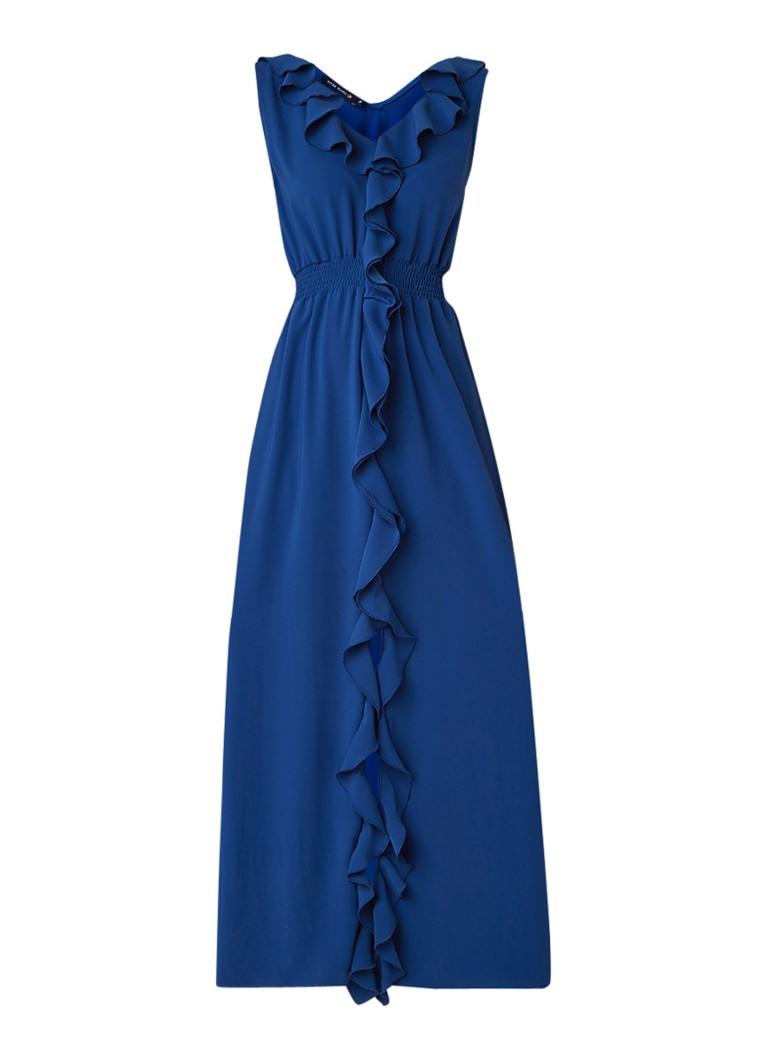 River Woods Mouwloze maxi-jurk met volant blauw