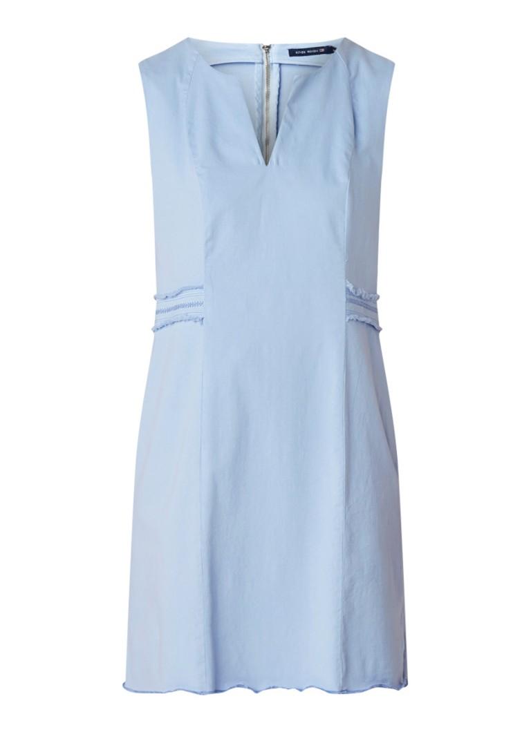 River Woods A-lijn midi-jurk met borduring en stretch lichtblauw