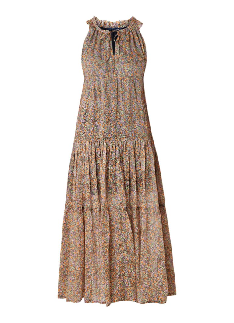 River Woods A-lijn maxi-jurk met bloemendessin en ruches multicolor