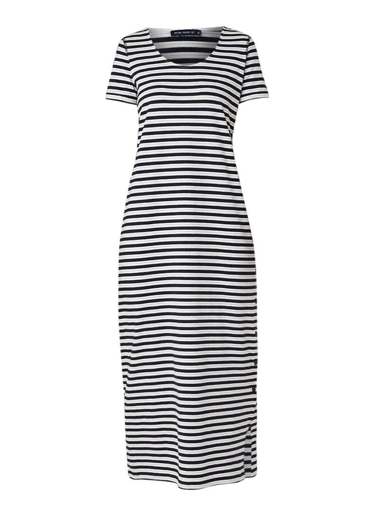 River Woods Gestreepte maxi-jurk met lurex en knoopdetail donkerblauw