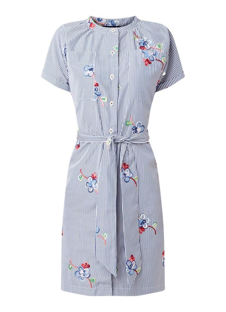 River Woods Mandarin blousejurk met borduring en strikceintuur middenblauw