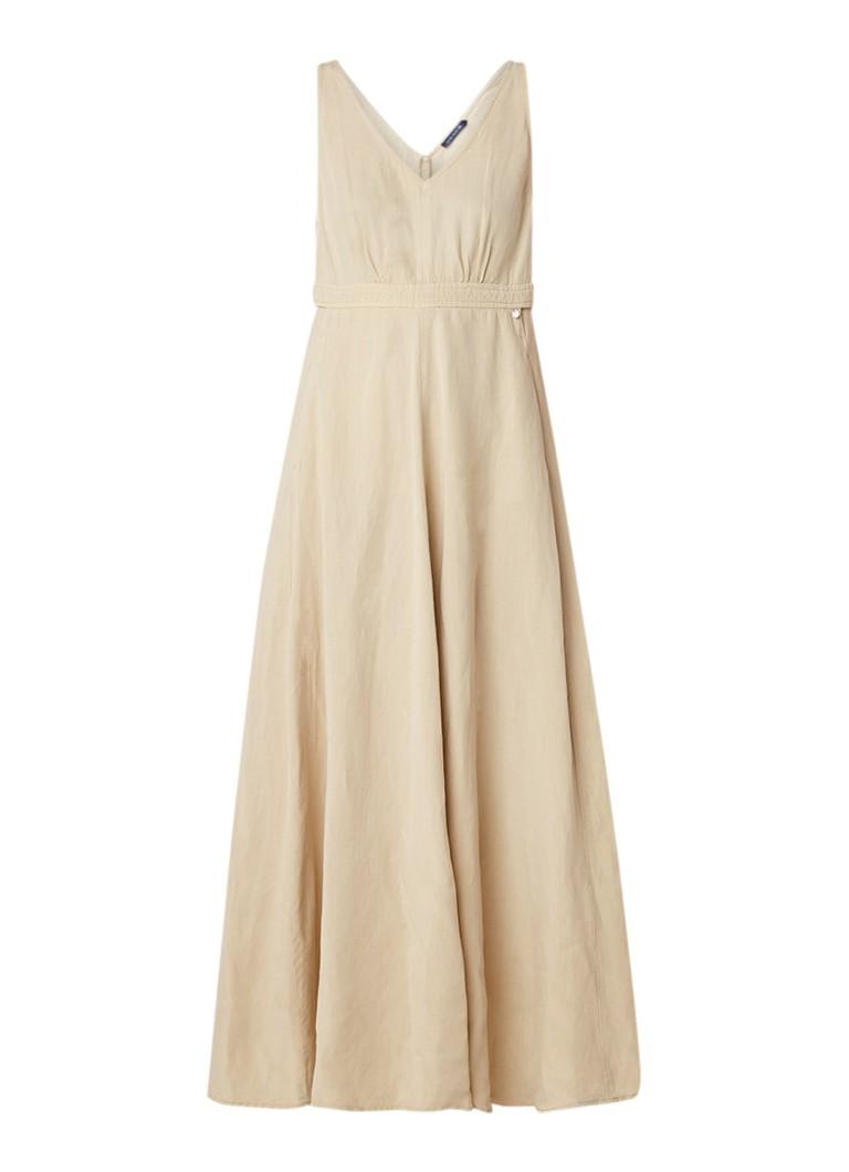 River Woods Mouwloze maxi-jurk in linnenblend zand