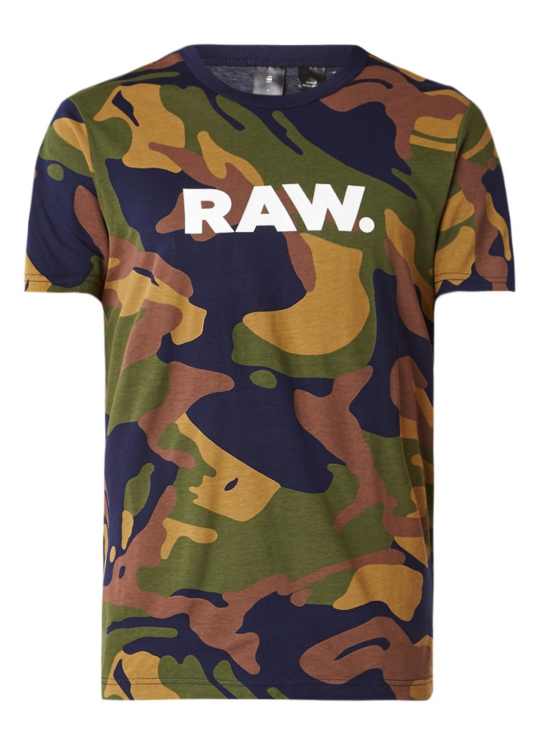 G-Star RAW Tolban T-shirt met camouflagedessin en logoprint