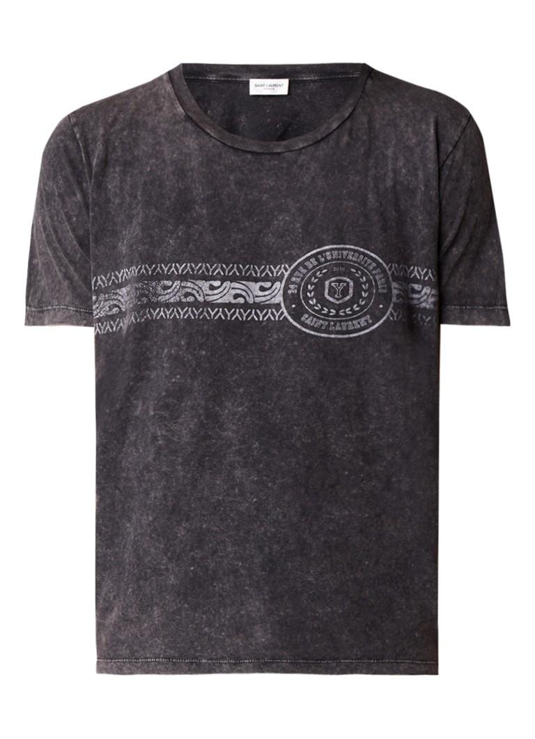 Saint Laurent College T-shirt met verwassen look en opdruk