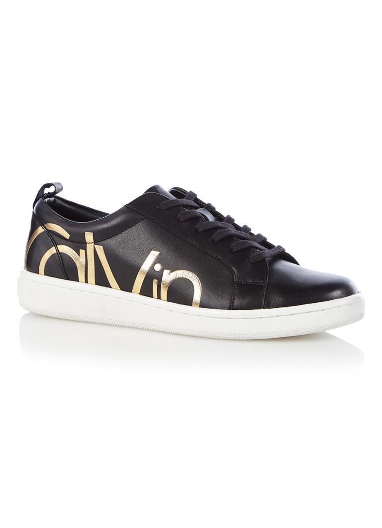 Calvin Klein Danya sneaker van leer Zwart