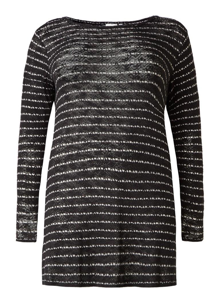 Junarose Nabin lange pullover met streepdessin zwart