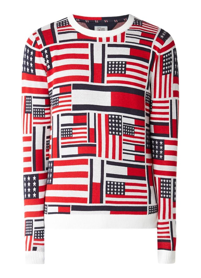 Tommy Hilfiger Pullover van katoen met vlagpatroon
